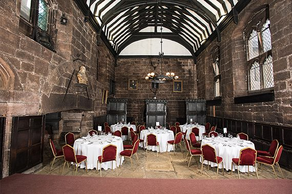 Baronial Hall set up for dining