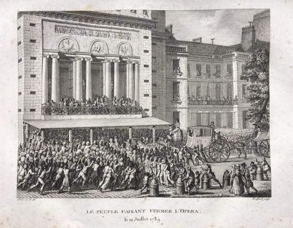 Engraving - the People closing down the Opera
