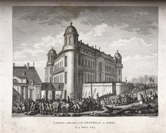 Engraving - bringing canon from Chantilly to Paris