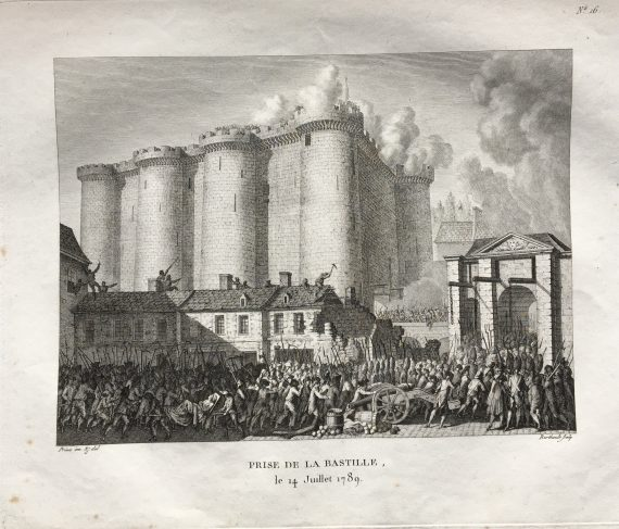 Engraving of the fall of the Bastille