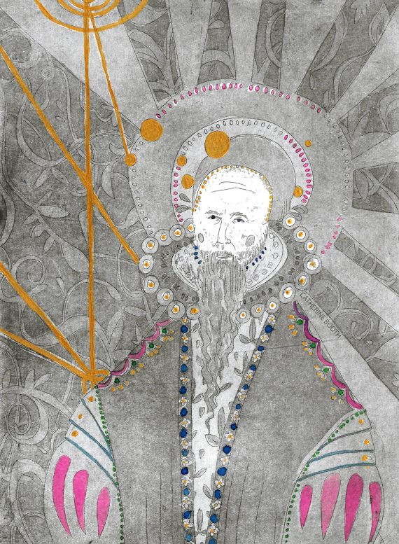 Catherine Booth's portrait of Dr John Dee, etched, with ink and gold paint.