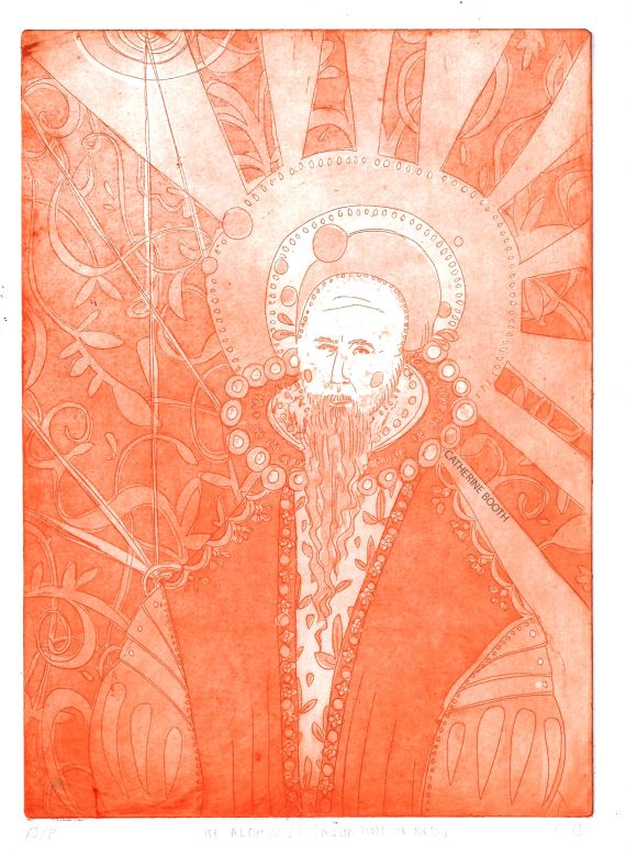 Catherine Booth's portrait of Dr John Dee etched in red