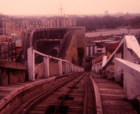 Photo looking down from the top of the 'pull-up' on the Belle Vue Scenic Railway, 1977