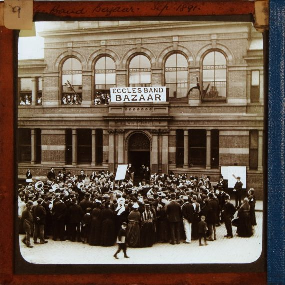 Magic lantern slide photo of Eccles Band Bazaar