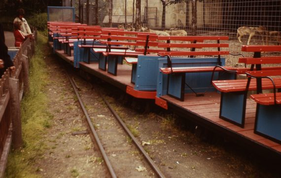 Photo of wolves admiring Belle Vue's miniature railway carriage stock, 1977. Copyright Jon Cocks.