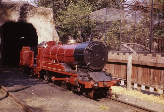 Photo of locomotive 'Joan' outside the tunnel on the Belle Vue miniature railway. Copyright Jon Cocks.