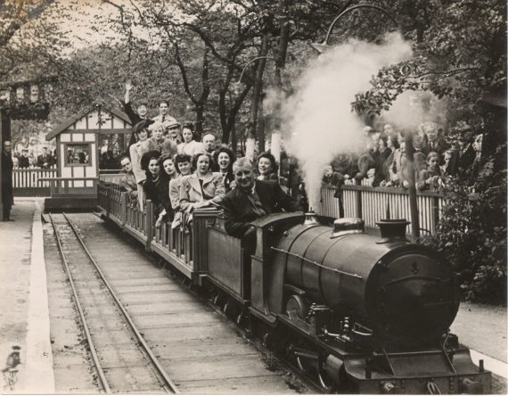 Photo of 'Prince Charles' pulling a train of Belle Vue visitors in 1946. Copyright Jon Cocks.
