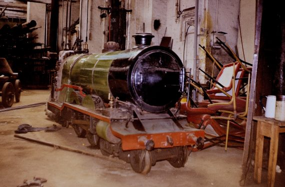 Photograph of the locomotive 'Prince of Wales' in the engineering shop at Belle Vue. Copyright Jon Cocks.