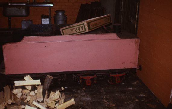 Photo of the original tender for 'Prince Charles', being kept safe at Belle Vue, 1977. Copyright Jon Cocks.