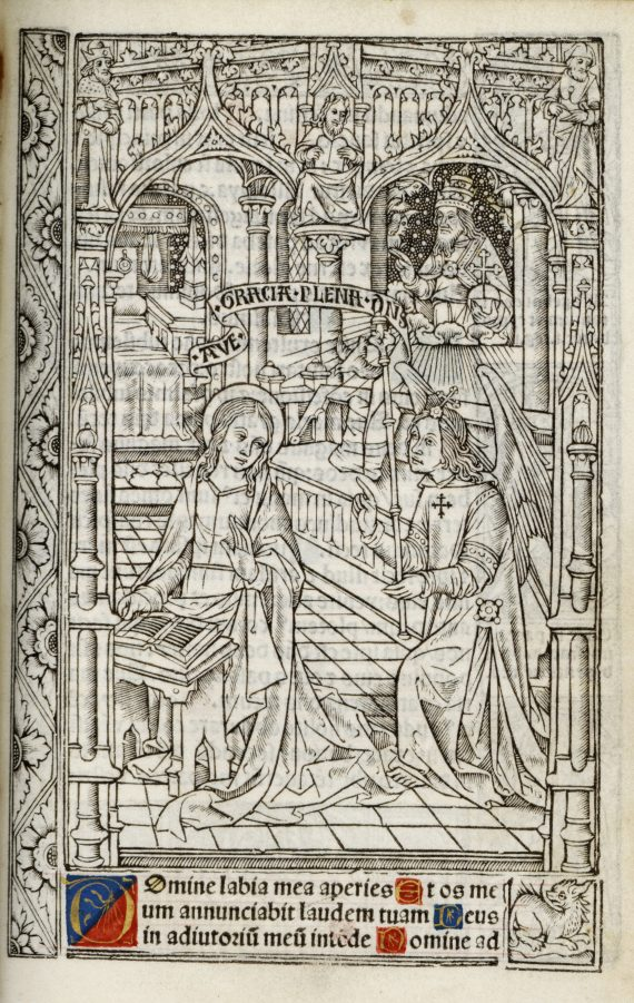 Photograph of image of the Annunciation to the Virgin in a Book of Hours at Chetham's Library